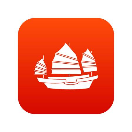Junk boat icon digital red for any design isolated on white vector illustration Illustration