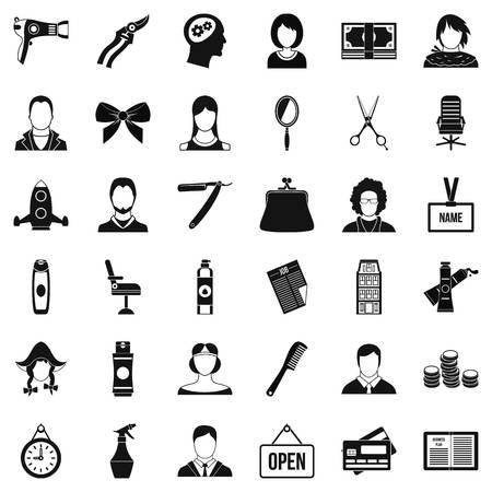 icônes de sèche-cheveux . simple style de 36 icônes vectorielles de sèche-cheveux pour le web isolé sur fond blanc