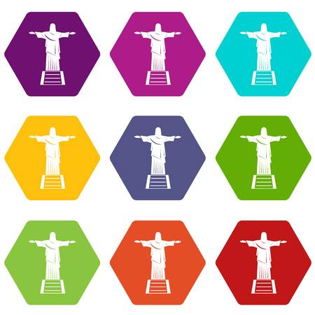 The Christ the Redeemer statue icon set many color hexahedron isolated on white vector illustration