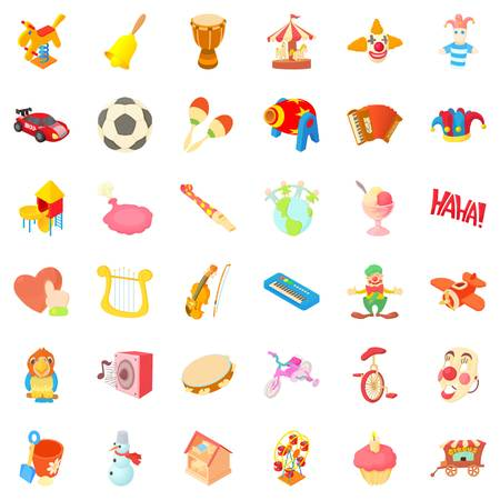 Playground cons set. Cartoon style of 36 playground vector icons for web isolated on white background Illustration
