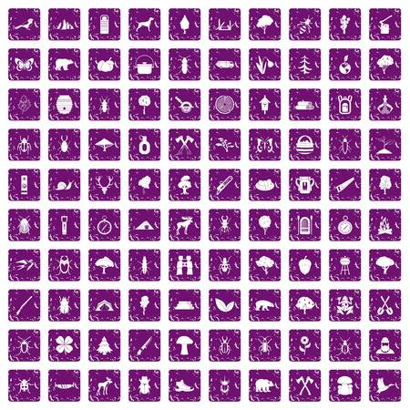 100 forest icons set in grunge style purple color isolated on white background vector illustration Ilustração