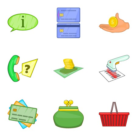 Stock of money icons set. Cartoon set of 9 stock of money vector icons for web isolated on white background