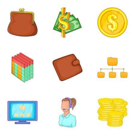 shopping chart: Rich icons set. Cartoon set of 9 rich vector icons for web isolated on white background