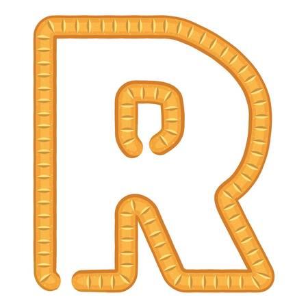 Letter r bread icon, cartoon style Illustration