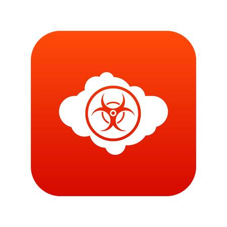 Cloud with biohazard symbol icon digital red Illustration