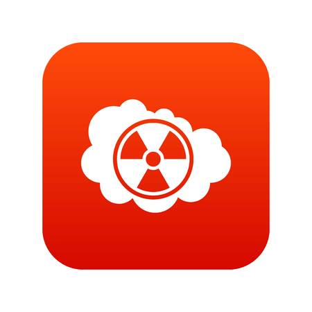 Cloud and radioactive sign icon digital red Illustration