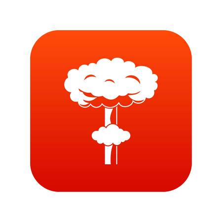 Nuclear explosion icon digital red