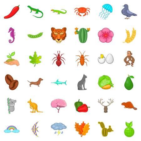 horse fish: Kangaroo icons set, cartoon style