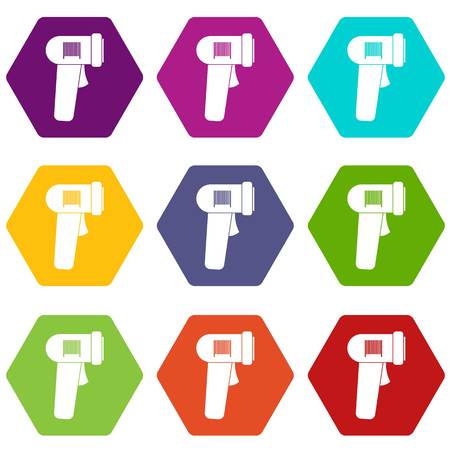 Barcode scanner icon set color hexahedron