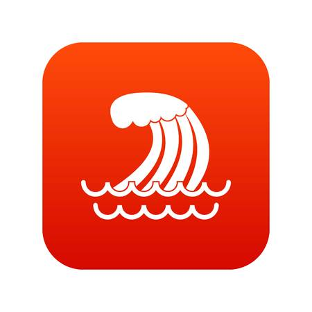 Tsunami wave icon digital red