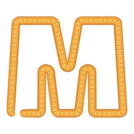 Letter m bread icon, cartoon style