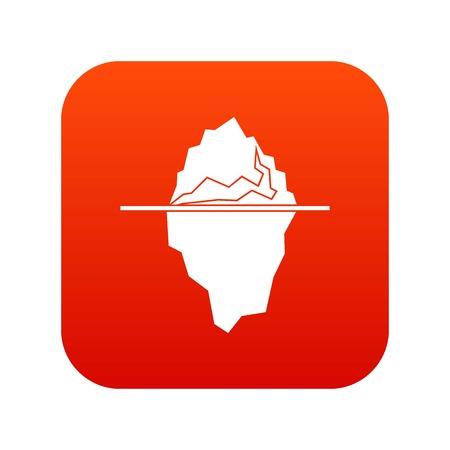 Iceberg icon digital red