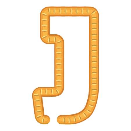 Letter j bread icon, cartoon style