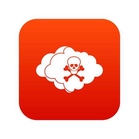 Cloud with skull and bones icon digital red