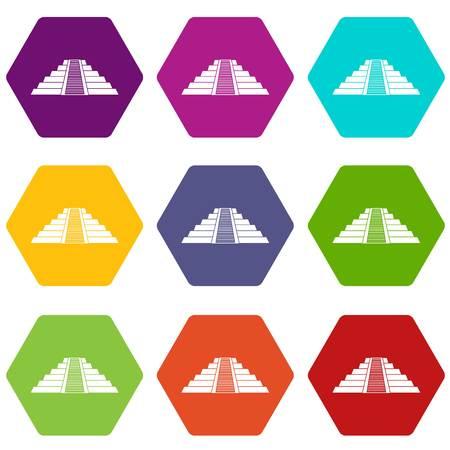 Ziggurat in Chichen Itza icon set color hexahedron