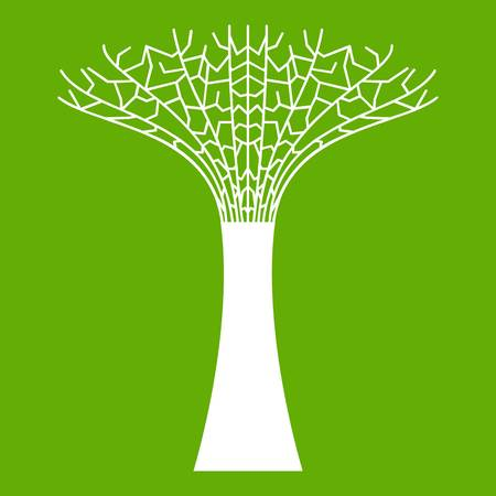 Supertree at the  icon white isolated on green background. Vector illustration Иллюстрация