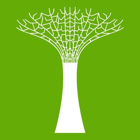Supertree en el icono blanco aislado sobre fondo verde. Ilustración vectorial