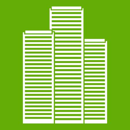 Skyscrapers in Singapore icon white isolated on green background. Vector illustration Illustration