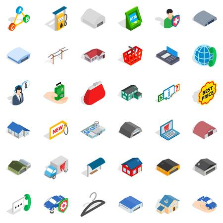 Best price icons set. Isometric style of 36 beat price vector icons for web isolated on white background
