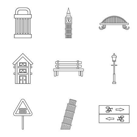 Lments de parc icônes set. set outline de 9 icônes de style de jeu pour le web isolé sur fond blanc Banque d'images - 87742039