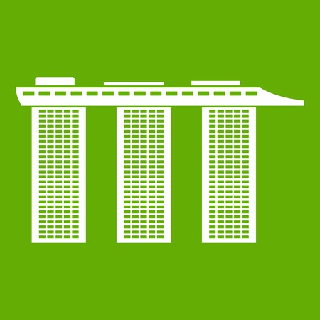 Marina Bay Sands Hotel, Singapore icon white isolated on green background. Vector illustration