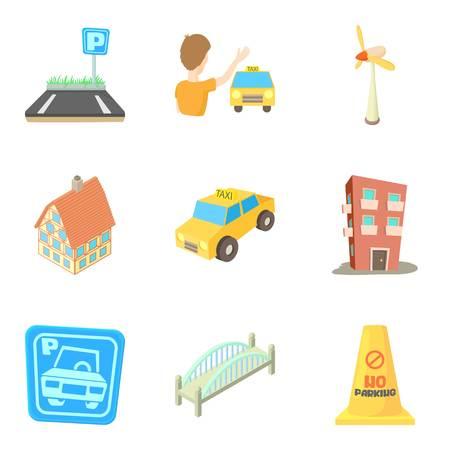 Ensemble d'icônes de maison d'habitation. Jeu de dessin animé de 9 icônes vectorielles de maison d'appartement pour le web isolé sur fond blanc Banque d'images - 87742108
