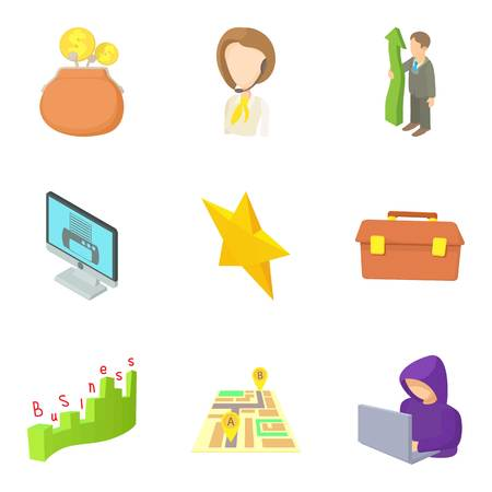 Promotion at work icons set. Cartoon set of 9 promotion at work vector icons for web isolated on white background