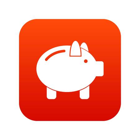 Piggy bank icon digital red for any design isolated on white vector illustration Illustration