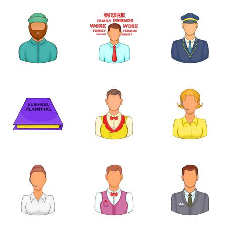 Hard worker icons set. Cartoon set of 9 hard worker vector icons for web isolated on white background