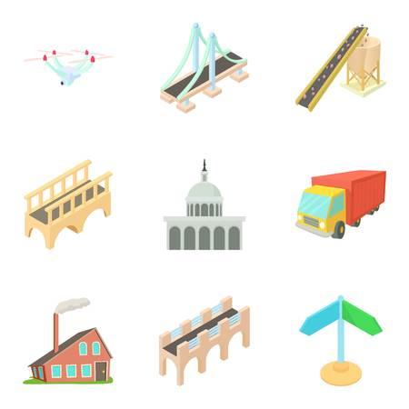 Way to city center icons set. Cartoon set of 9 way to city center vector icons for web isolated on white background Illustration