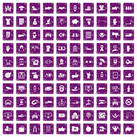 100 hand icons set in grunge style purple color isolated on white background vector illustration