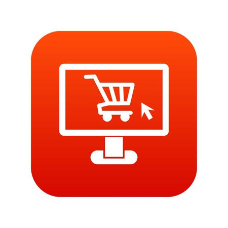 Computer monitor with shopping cart icon digital red for any design isolated on white vector illustration Illustration