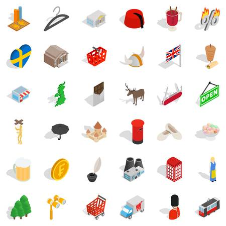 Big country icons set. Isometric style of 36 big country vector icons for web isolated on white background