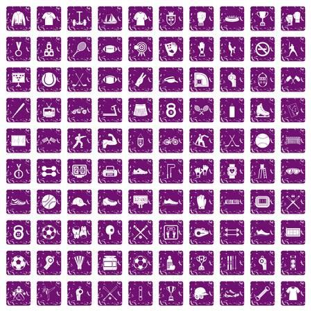 100 die atletenpictogrammen in de purpere die kleur van de grungestijl worden geplaatst op witte vectorillustratie wordt geïsoleerd als achtergrond Stock Illustratie