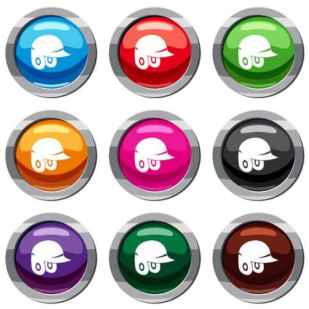 Baseball helmet set icon isolated on white. 9 icon collection vector illustration Illustration