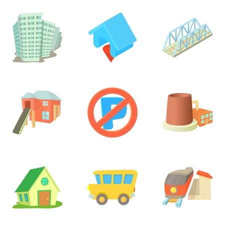 Ensemble d'icônes de condominium. Jeu de dessin animé de 9 icônes vectorielles en copropriété pour le web isolé sur fond blanc Banque d'images - 87746724