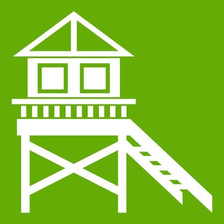 Wooden stilt house icon white isolated on green background. Vector illustration
