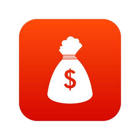 Money bag icon digital red for any design isolated on white vector illustration