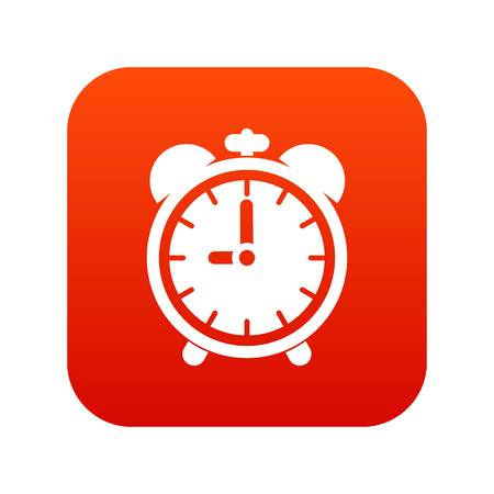 Alarm clock icon digital red for any design isolated on white vector illustration