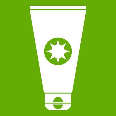 Tube with sunbathing cream icon white isolated on green background. Vector illustration Illustration