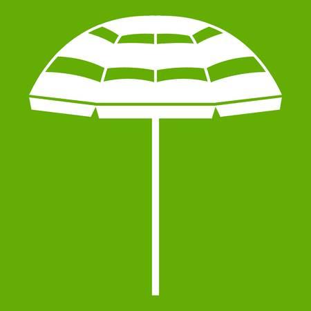 Beach umbrella icon white isolated on green background. Vector illustration