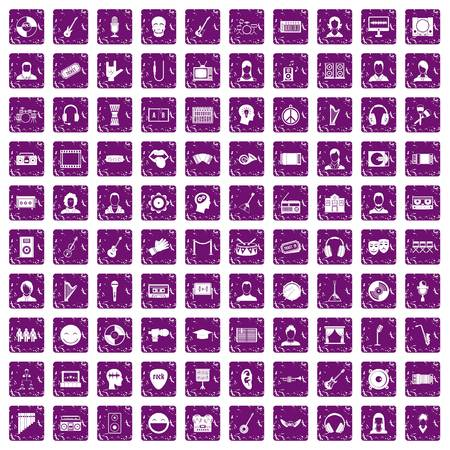 100 audience icons set in grunge style purple color isolated on white background vector illustration
