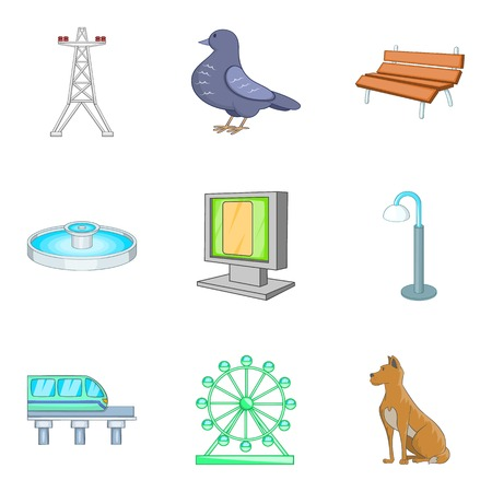 Central park icons set. Cartoon set of 9 central park vector icons for web isolated on white background Illustration