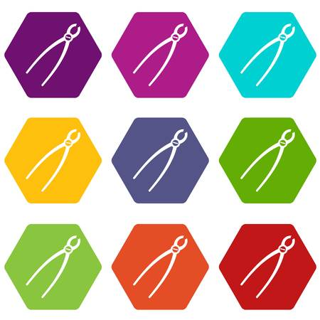 pincers: Tooth extraction instrument icon set many color hexahedron isolated on white vector illustration