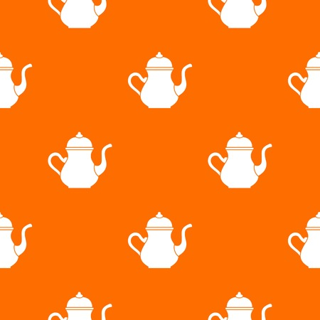 middle eastern food: Traditional Turkish teapot pattern repeat seamless in orange color for any design. Vector geometric illustration