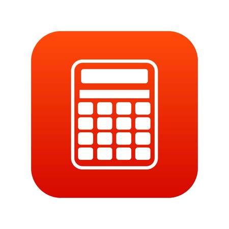 Calculator icon digital red for any design isolated on white vector illustration Illustration