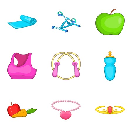 Care of figure icons set. Cartoon set of 9 care of figure vector icons for web isolated on white background