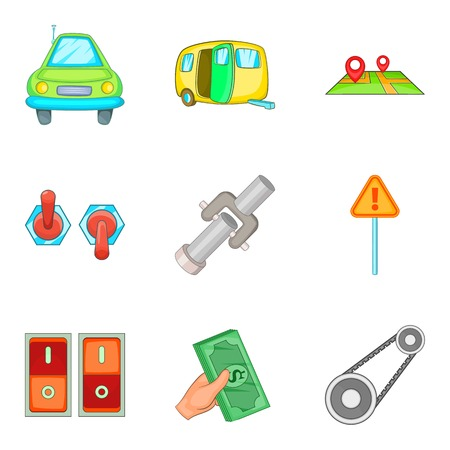 Engine check icons set. Cartoon set of 9 engine check vector icons for web isolated on white background Illustration
