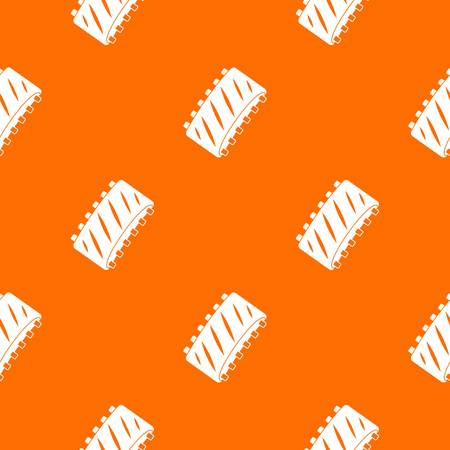 Pork rib meat pattern repeat seamless in orange color for any design. Vector geometric illustration