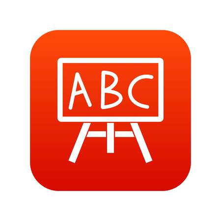 Chalkboard with the leters ABC icon digital red for any design isolated on white vector illustration Stock Illustratie